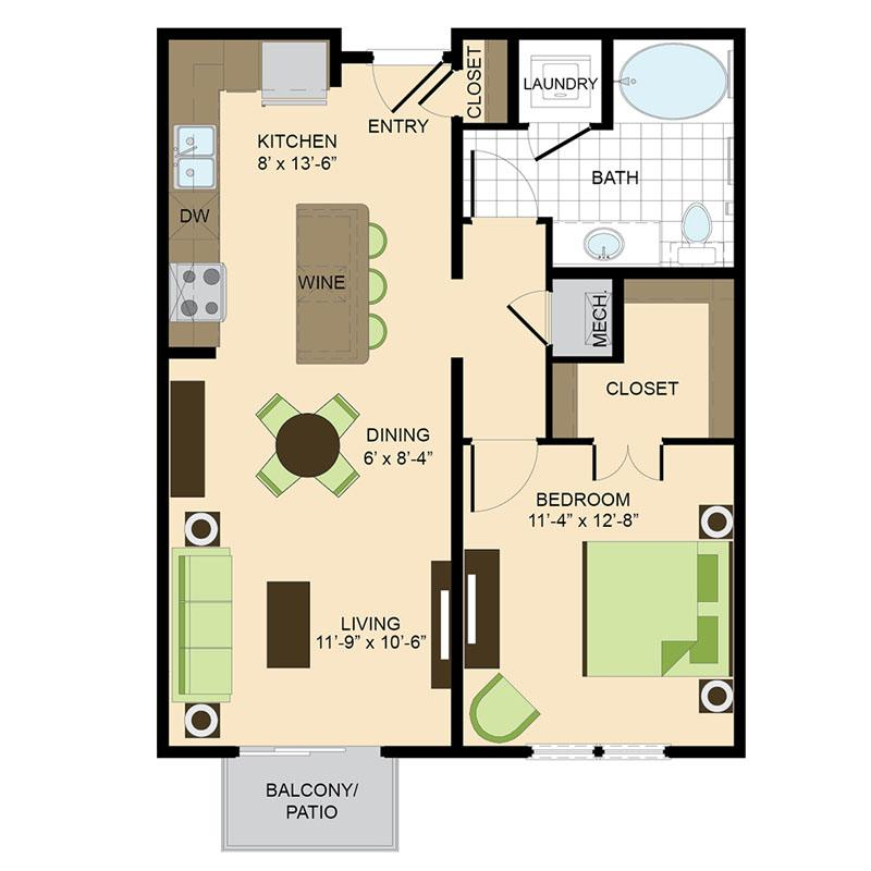 500 Crawford Houston Luxury Downtown Apartments | Capitol A2 Floor Plan
