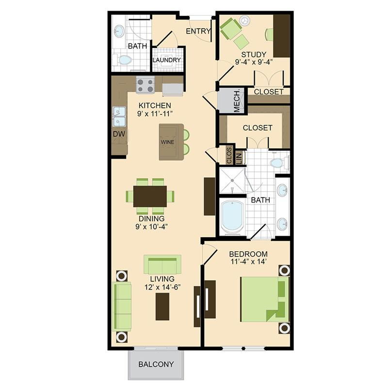1 Bedroom With Study Apartments In Houston