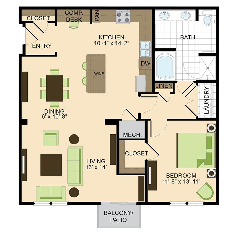 500 Crawford Houston Luxury Downtown Apartments | Dallas A6 Floor Plan