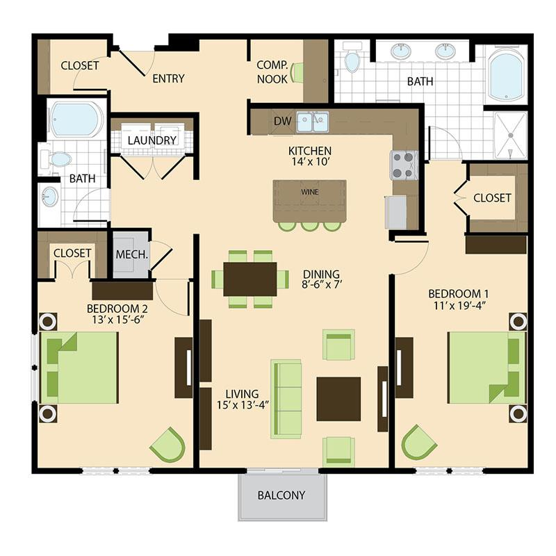 500 Crawford Houston Luxury Downtown Apartments | Preston B4 Floor Plan